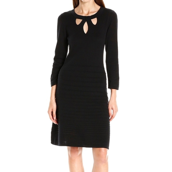6c3a59d884d Shop Nine West NEW Black Women s Size XL Cutout Fit   Flare Sweater Dress -  Free Shipping On Orders Over  45 - Overstock - 18384257