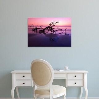 Easy Art Prints Joanne Wells's 'Tree Graveyard On Beach At Twilight' Premium Canvas Art