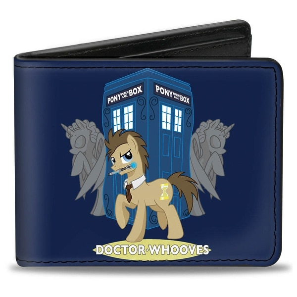 Doctor Whooves W Screwdriver Weeping Angel Unicorn Blue Grays Bi Fold Wallet - One Size Fits most
