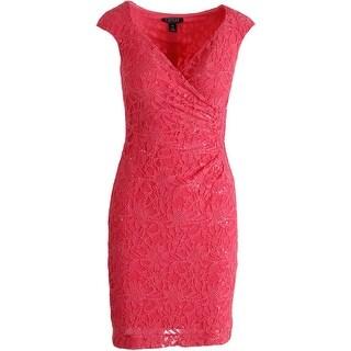 Lauren Ralph Lauren Womens Petites Lace Surplice Cocktail Dress - 0p