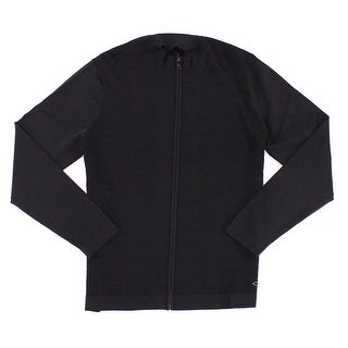 Alfani Black Mens Size Large L Quilted-Front Full Zip Sweater