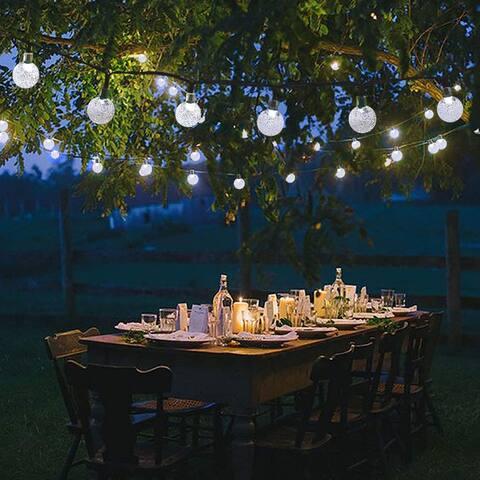 Solar Powered Globe String Lights 30LED 19.7ft Crystal Ball 8 Modes Christmas Fairy Lights (White) - Medium