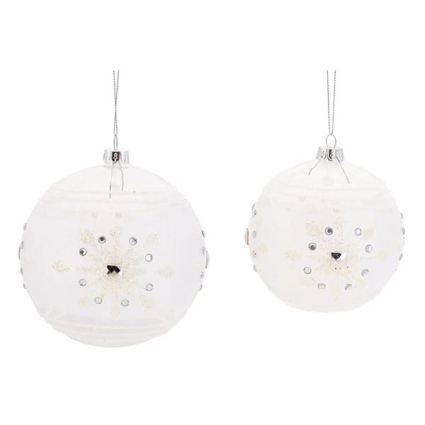 """6ct Clear and White Striped Christmas Ball Ornaments with Snowflake Design 5"""" - 6"""""""