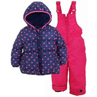 Pink Platinum Girls Snowsuit Heart Printed Winter Puffer Jacket Ski Bib (Option: 5)