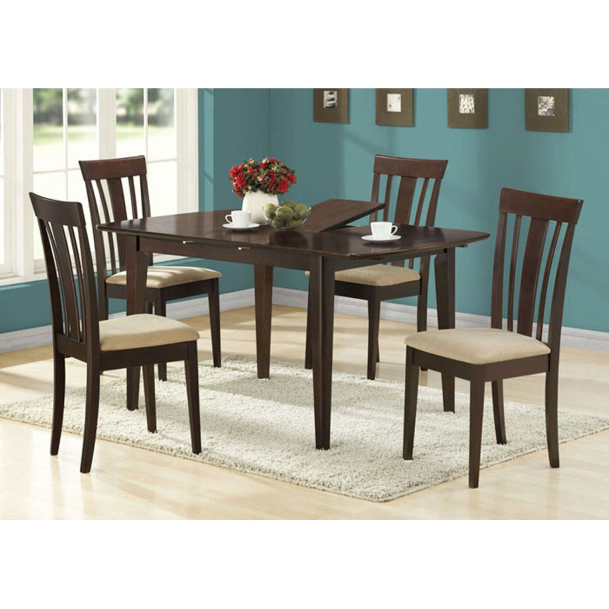 """Offex Cappuccino 7"""" x 7"""" Dining Table / 7"""" Butterfly Leaf"""