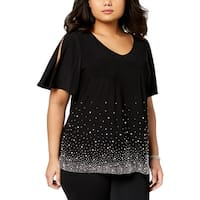 MSK Womens Plus Knit Top Embellished Cold Shoulder
