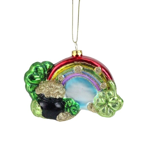 """4.5"""" Luck of the Irish Pot O' Gold at the End of the Rainbow Christmas Ornament"""