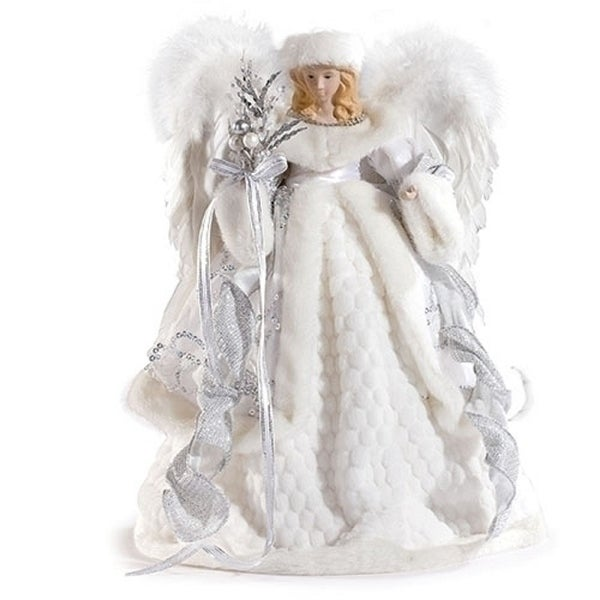 """Small Angel Christmas Tree Topper: Shop 16"""" Pearl White And Silver Sparkle Angel Christmas"""