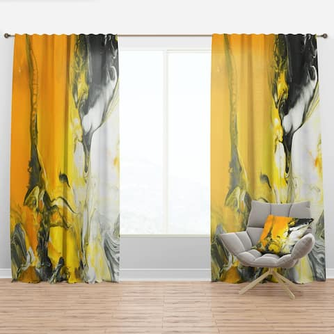 Porch & Den 'White and Yellow Marbled Acrylic with a Cloud of Black' Curtain Panel