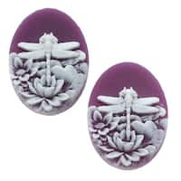 Lucite Oval Cameo - Purple With White Dragonfly And Flowers 25x18mm (2 Pieces)