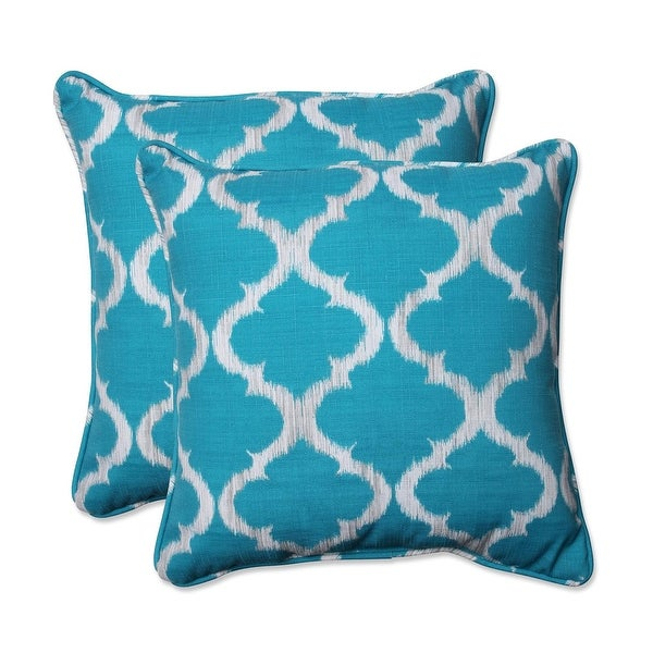 Set of 2 Teal Quatrefoil Rectangular Outdoor Corded Throw Pillows 18.5""
