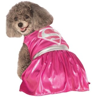 Pink Supergirl Pet Halloween Costume Large