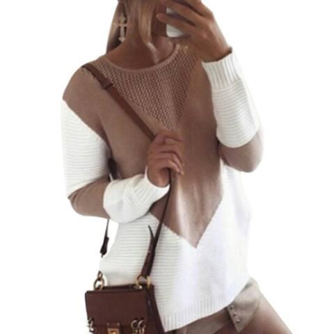 Contrast Hollow Round Neck Split Knit Sweater