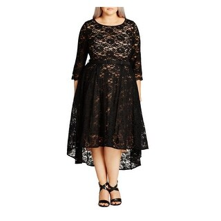 City Chic Womens Plus Trendy Special Occasion Dress Lace Hi-Low