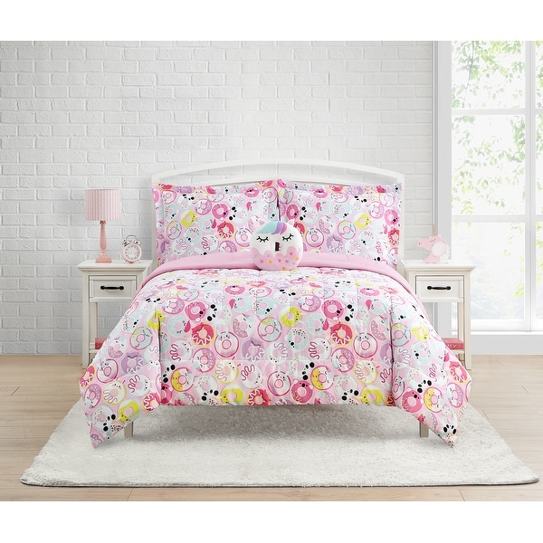 Donut Critters 4-Piece Comforter Set Featuring Unicorn Donut Decorative Pillow. Opens flyout.