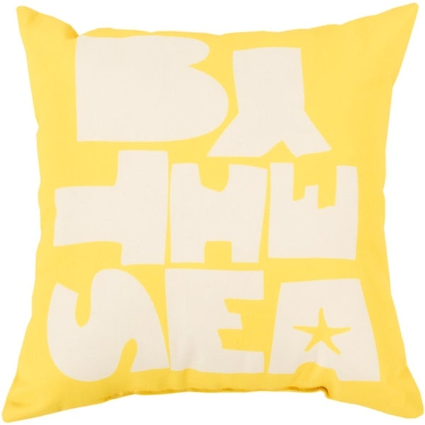 """26"""" Sun Yellow and Cloud Gray """"BY THE SEA"""" Square Throw Pillow Cover"""