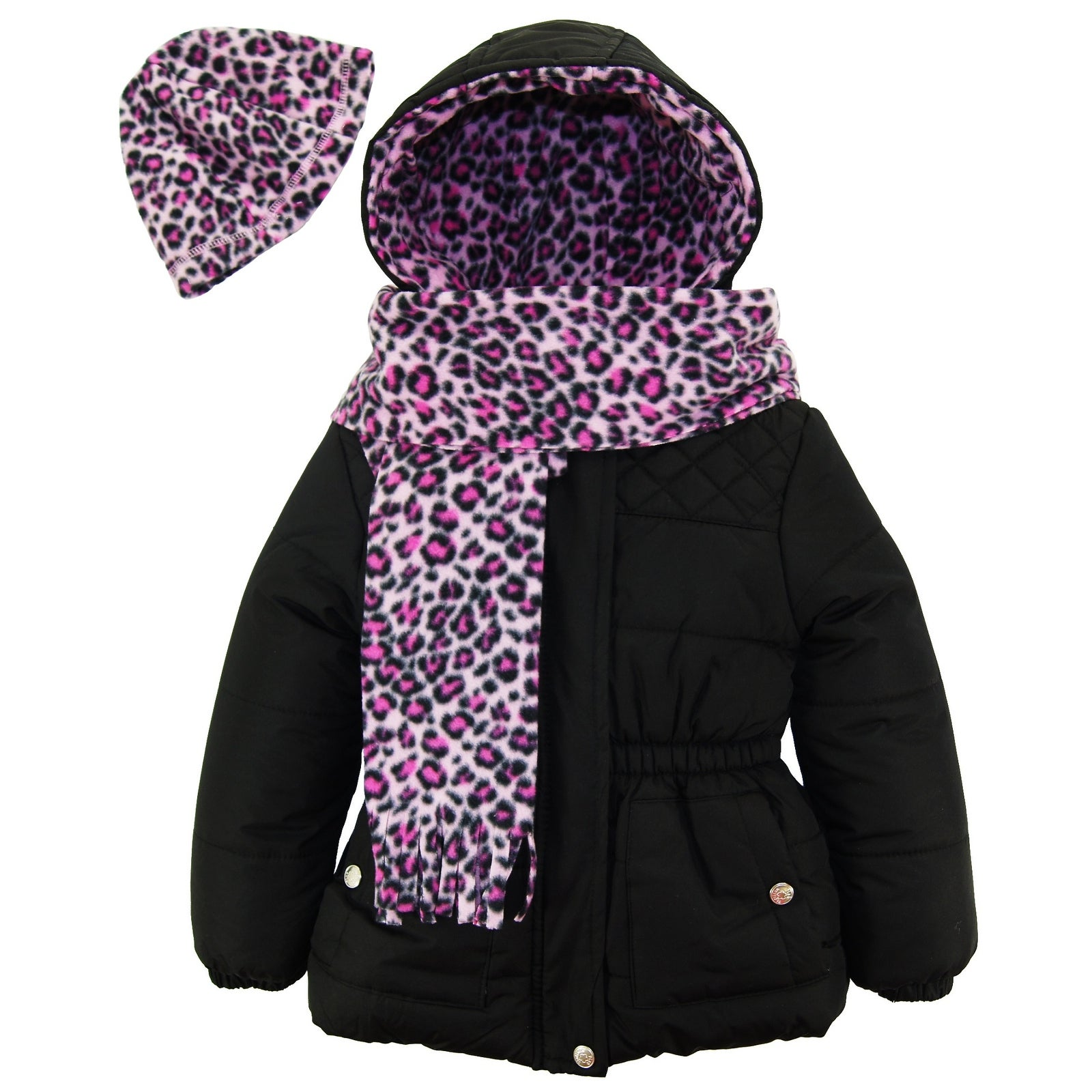 Pink Platinum Little Girls Winter Quilted Puffer Coat with Fleece Hat and Scarf Size 2T Black