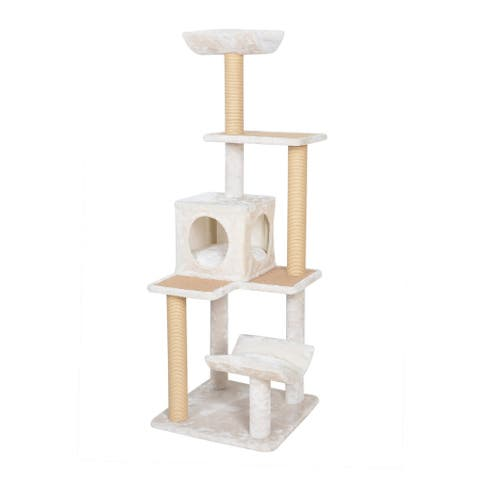 Catry Cabana, 5 level, 57 Cat Tree, with Curved Perch, Condo and Paper Rope Scratch Posts