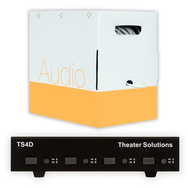 Theater Solutions TS4D Dual Input 4 Zone Speaker Selector Box & C500-16-4 Wire