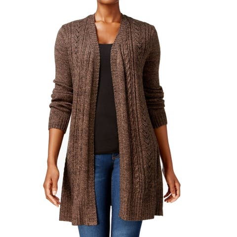 Karen Scott Women's Sweater Brown Size Large L Duster Open Cardigan