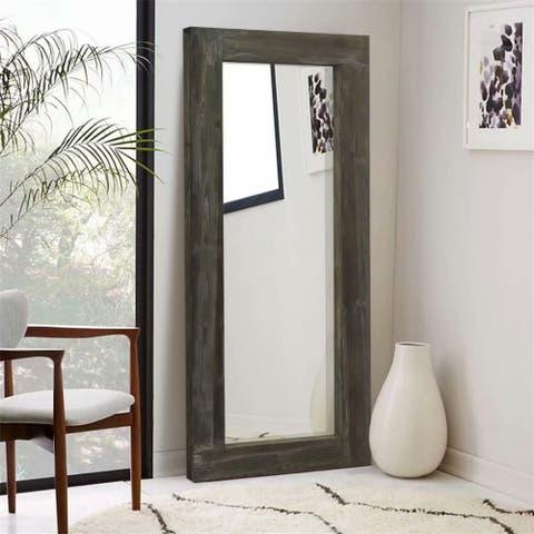 Rustic Wood Freestanding Full-length Floor Mirror - 58''x24''