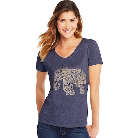 Hanes Women's Pattern Elephant Short Sleeve V-Neck Tee - Size - M - Color - Pattern Elephant/Navy Heather