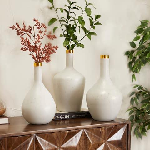White Glass Glam Vases (Set of 3)