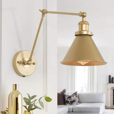"""Modern & Contemporary Swing Arm Wall Sconce Flush Mount Wall Lights for Bedroom - L 21"""" x W 7.3 """"x H8"""""""
