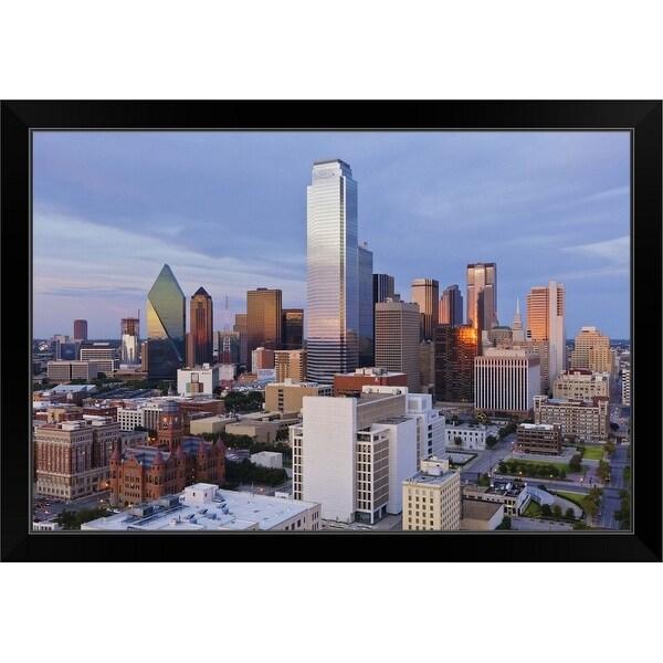 """Dallas Skyline at Dusk, Texas"" Black Framed Print"