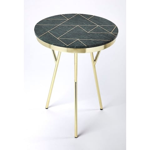 """Offex Haven Contemporary Design Round Green Marble & Brass AccentTable - 18.5""""L x 18.5""""W x 23.5""""H"""