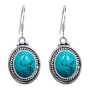 Link to Amethyst, Turquoise Sterling Silver Oval Dangle Earrings by Orchid Jewelry Similar Items in Earrings