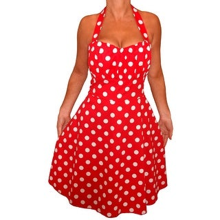 Funfash Plus Size Red White Polka Dots Halter Rockabilly Dress