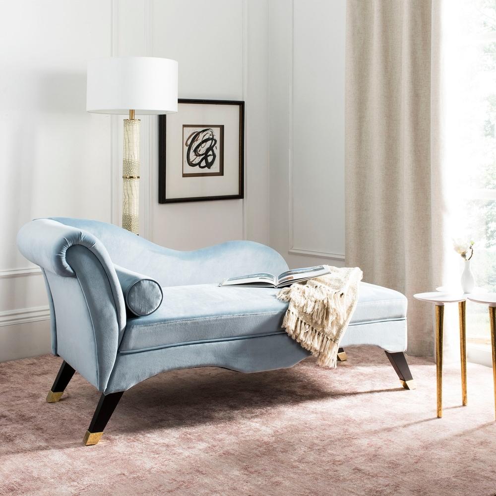 Safavieh Caiden Slate Blue/ Black Chaise