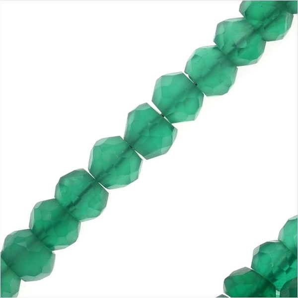 Green Onyx Gemstone Bead Strands, Facected Rondelles 2x3.5mm, 1 Strand, Green