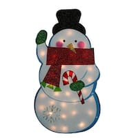 "30"" Standing Tinsel Snowman Lighted Christmas Outdoor Decoration - Clear Lights - WHITE"