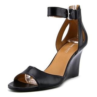 Nine West 7Floyd Women Open Toe Leather Wedge Sandal