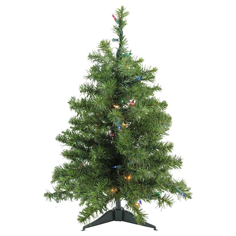 "3' x 22"" Pre-Lit Natural Two-Tone Pine Artificial Christmas Tree - Multi-Color Lights - 3-to-6-feet"