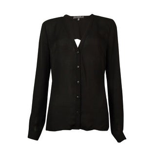 Guess Women's V-Neck Cut-Out Back Buttoned Top