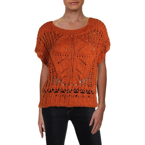 Free People Womens Pullover Sweater Open Stitch Cap Sleeves