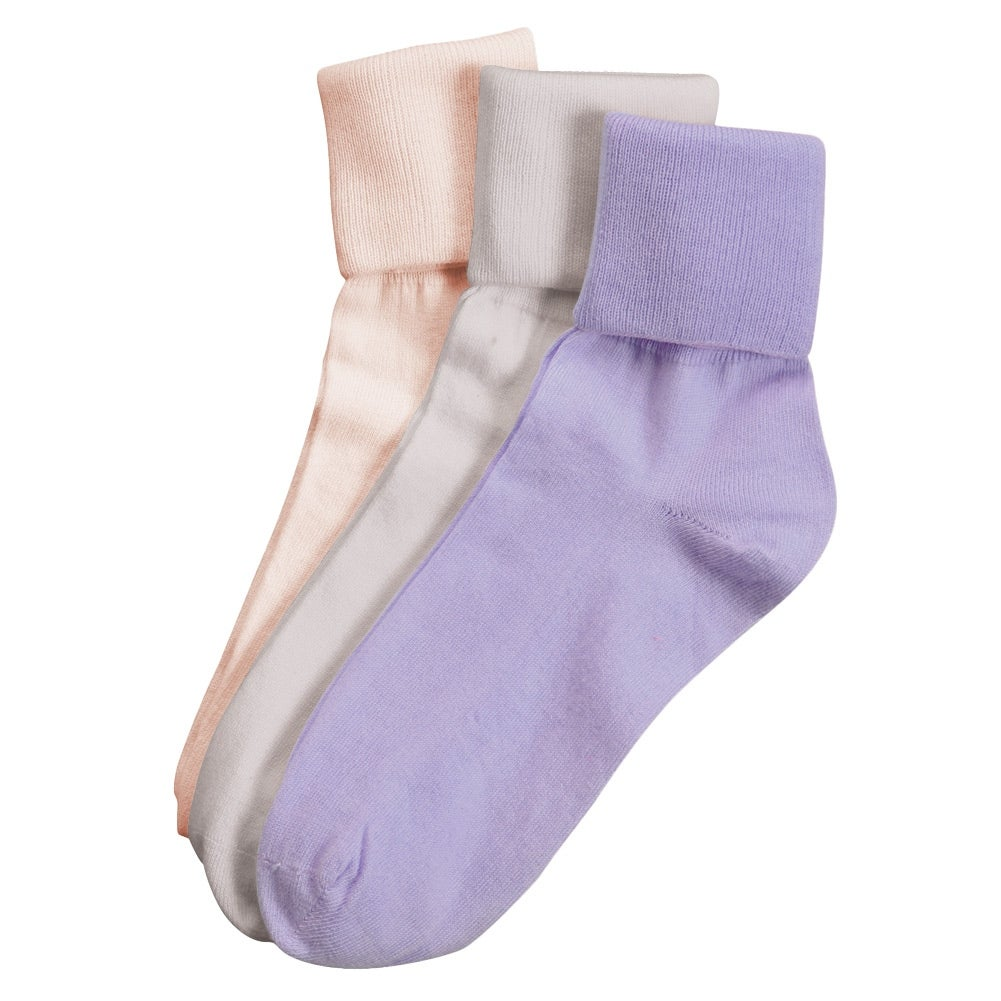 Women's Buster Brown Cotton Fold Over Vintage Socks - Pack of 3 - L