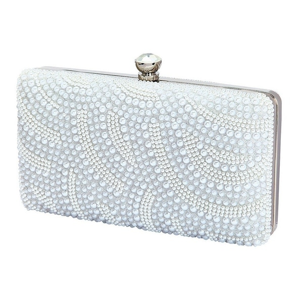Shop De Blossom Womens Silver Pearl Adorned Jeweled Clasp Hard Shell Clutch  Bag - One size - Free Shipping Today - Overstock.com - 18449329 43af71f9213c