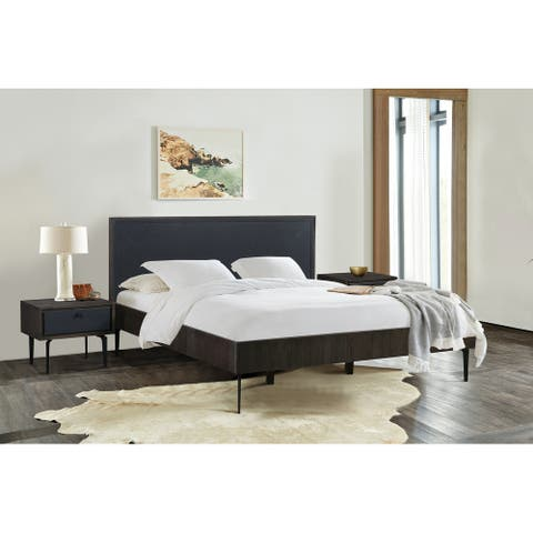 Cross Dark Gray Solid Oak King or Queen 3pc Bedroom Set
