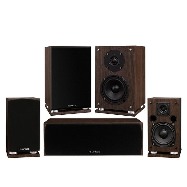 Fluance Elite Series Compact Surround Sound Home Theater 5.0 Channel System - Walnut (SX50WC)