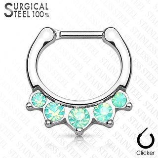 Hanging Oplaite Surgical Steel Septum Clicker - 16GA (Sold Ind.)