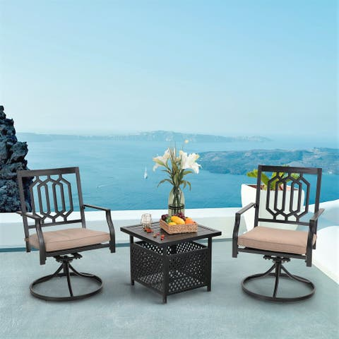 PHI VILLA 3-Pcs Outdoor Dining Set: Steel Swivel Dining Chair with Cushion and Bistro Table with Umbrella Hole
