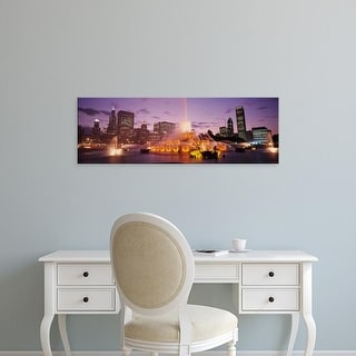 Easy Art Prints Panoramic Image 'Fountain lit up at dusk in a city, Chicago, Cook County, Illinois, USA' Canvas Art