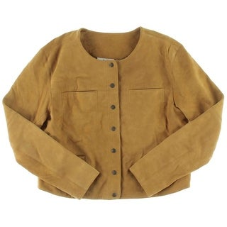 Free People Womens Juniors Collarless Blazer Suede Outerwear