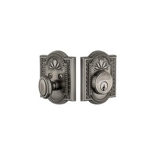 "Grandeur PARPAR_SGLCYL_238 Parthenon Solid Brass Rose Single Cylinder Keyed Entry Deadbolt with 2-3/8"" Backset"