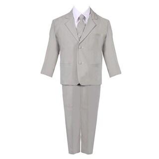 Baby Boys Silver 5 Piece Classic Vest Jacket Pants Special Occasion Suit