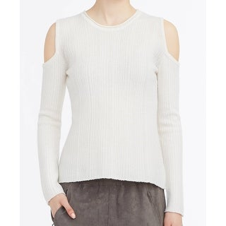Elie Tahari NEW White Ivory Cold-Shoulder Womens XL Tunic Wool Sweater